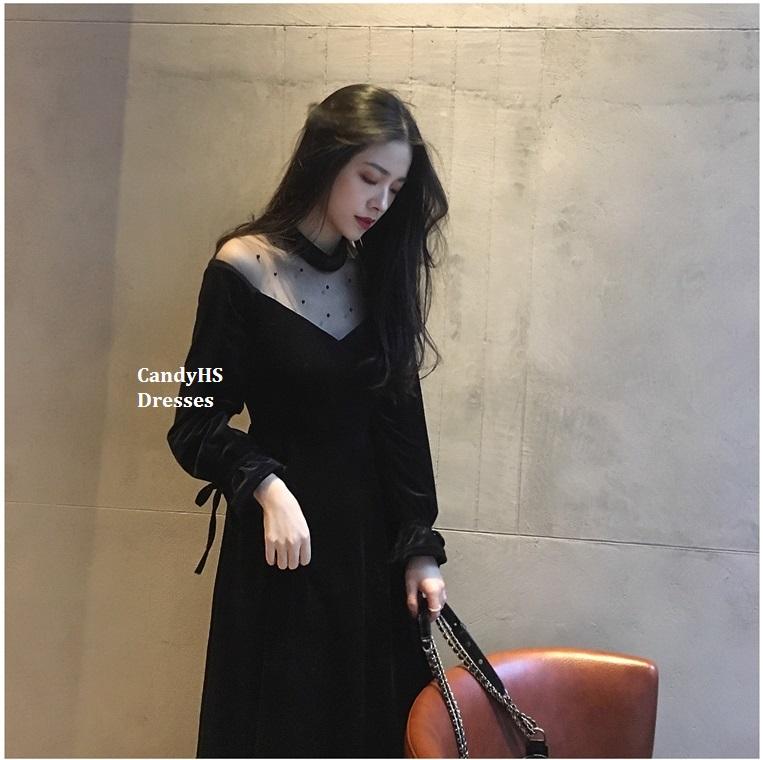 CandyHS [SML26] 春装新款黑色复古优雅丝绒洋装