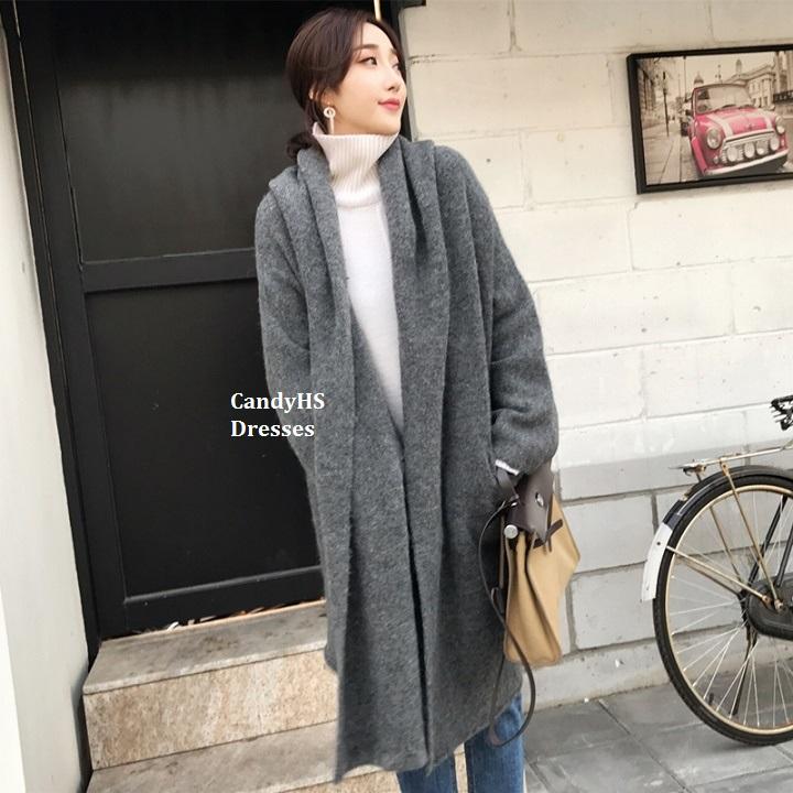 CandyHS [MMC11] 冬季新款宽松羊驼毛混纺长版针织外套开衫
