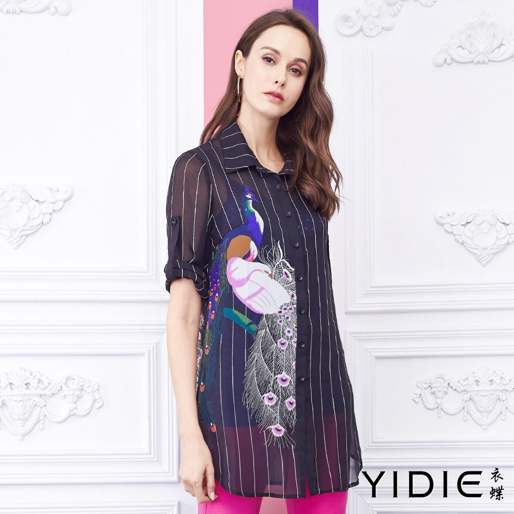 【YIDIE衣蝶】直条纹融合孔雀天鹅休闲衬衫