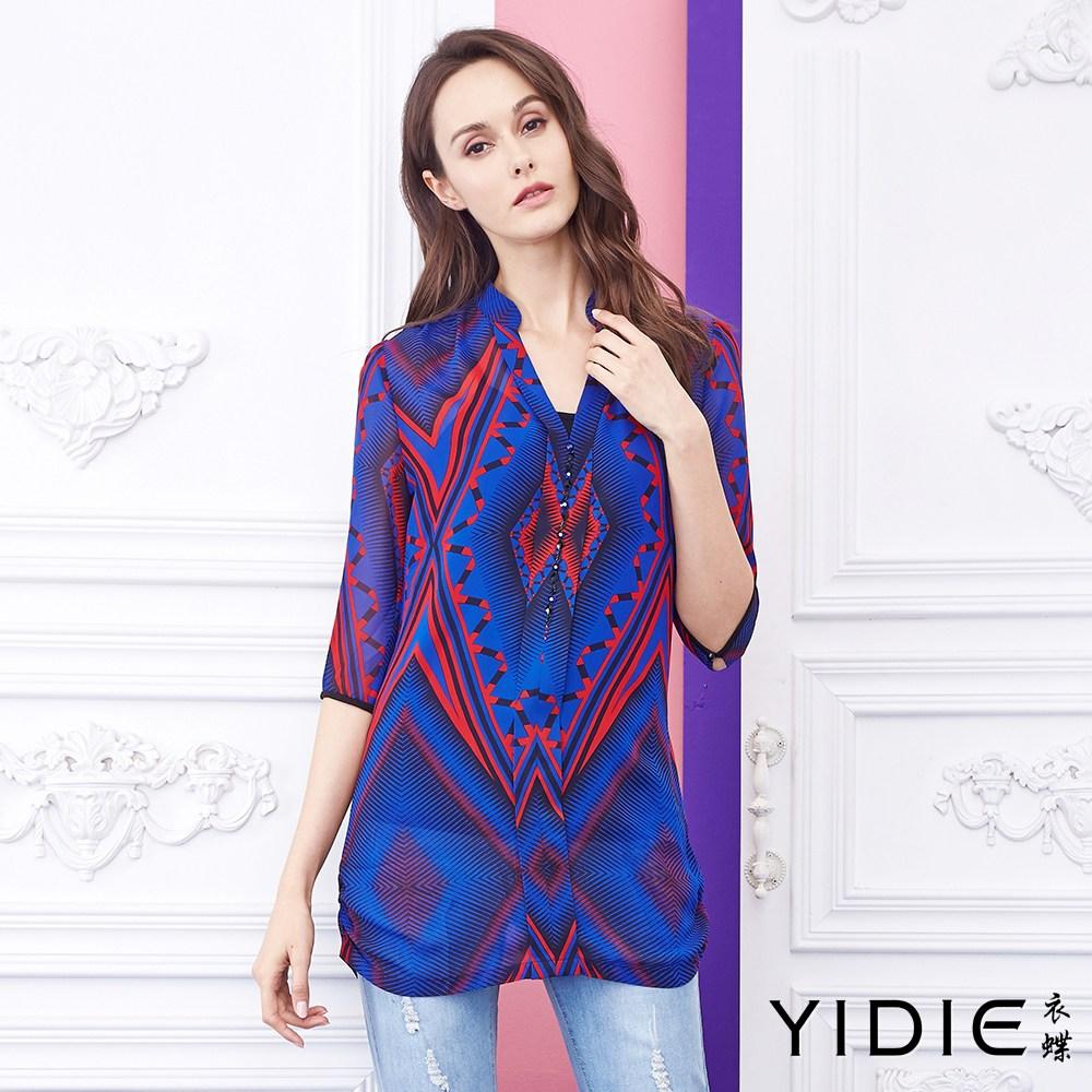 【YIDIE衣蝶】V领亮色几何组合图衬衫