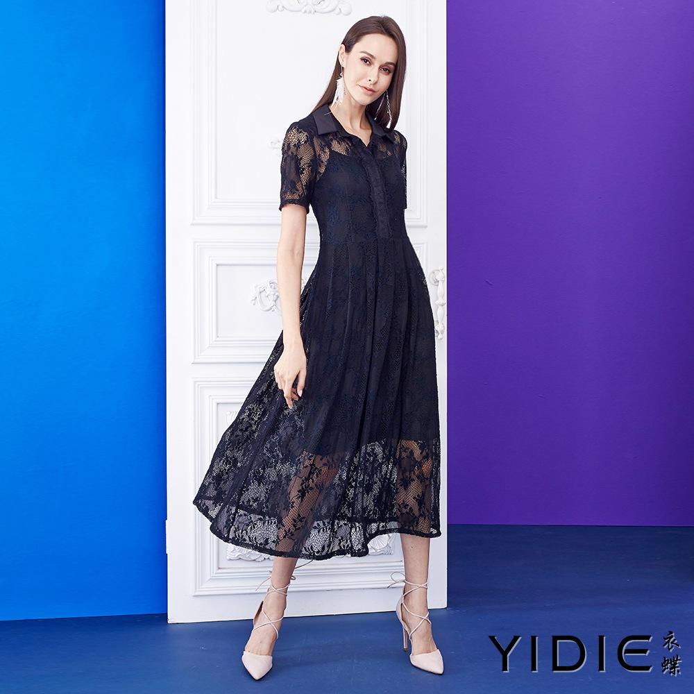 【YIDIE衣蝶】衬衫领蕾丝织纹长洋装