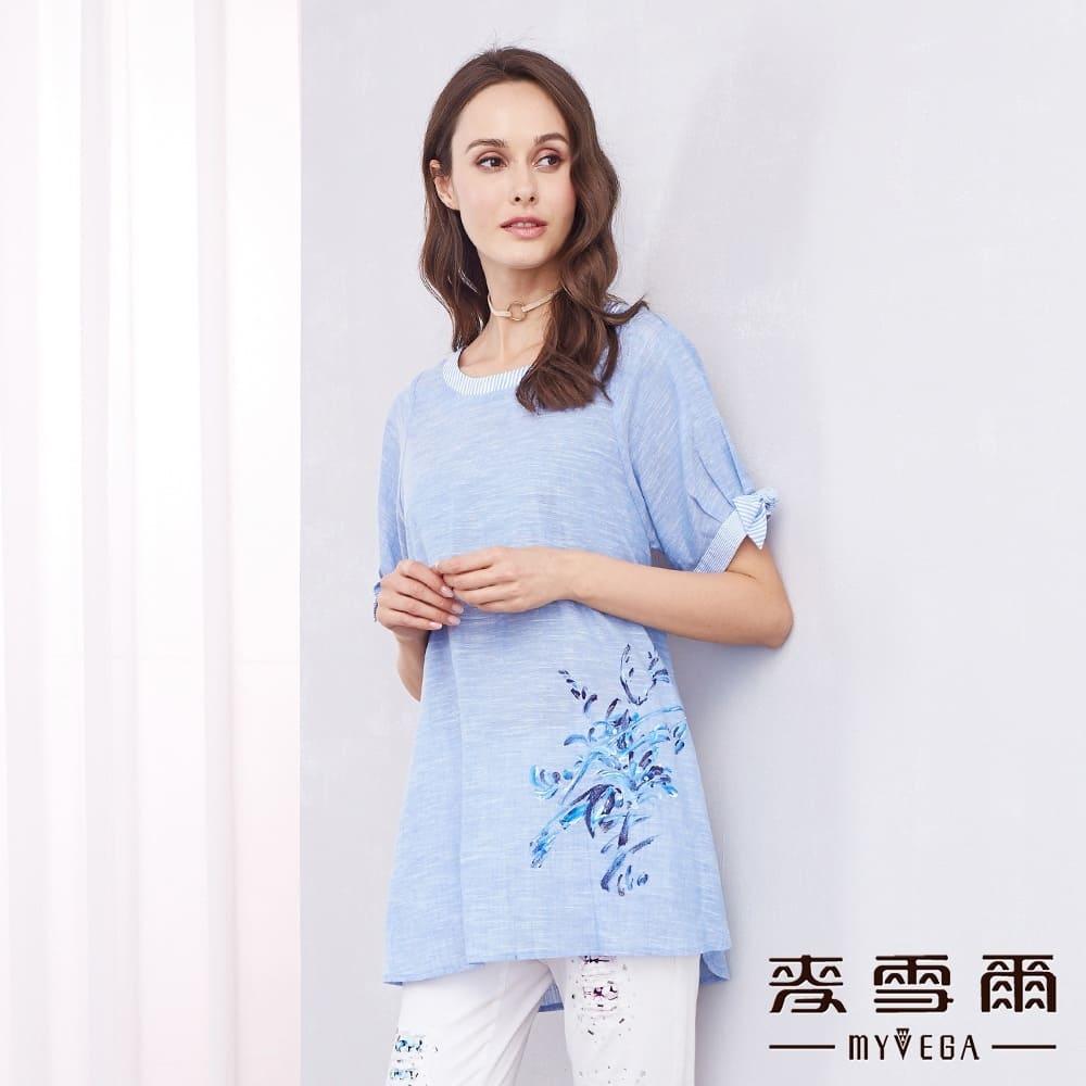 【麦雪尔】纯棉知性水墨画线条上衣