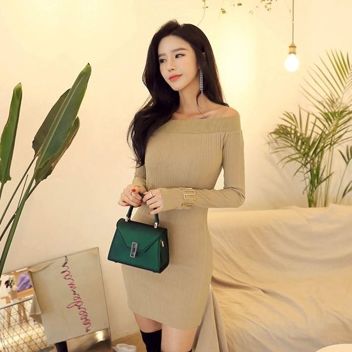 planj 女士纯色优雅时尚洋装 (韩国女装) (现货区)  【PJOP01330743】