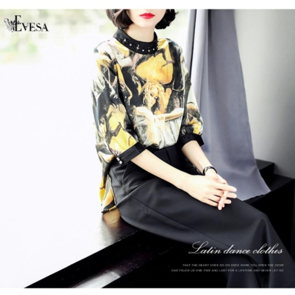 预购【伊凡莎时尚】2P19-5178B欧潮独特艺术花版缀珠衬衫