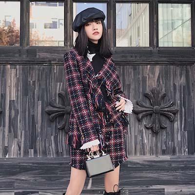 Lamitie 2017秋冬新品格纹流苏裙裤