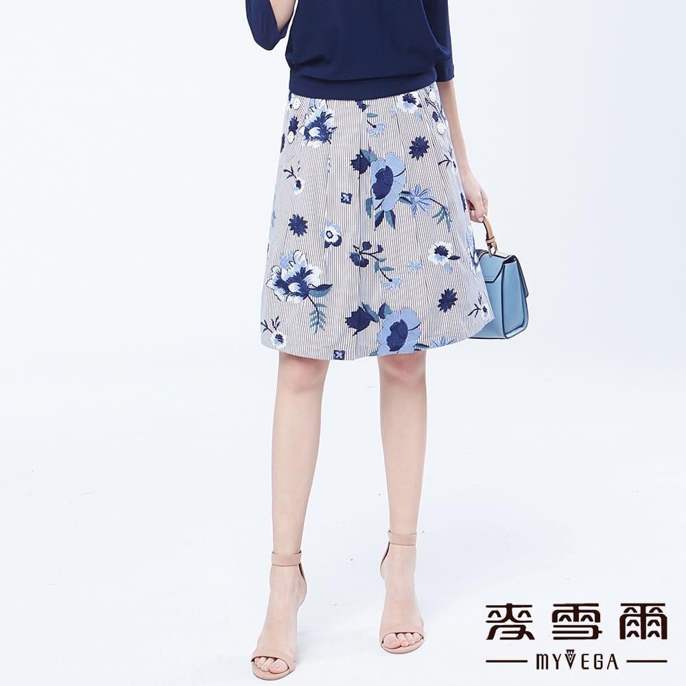 【麦雪尔】直条纹绣花都会风短裙