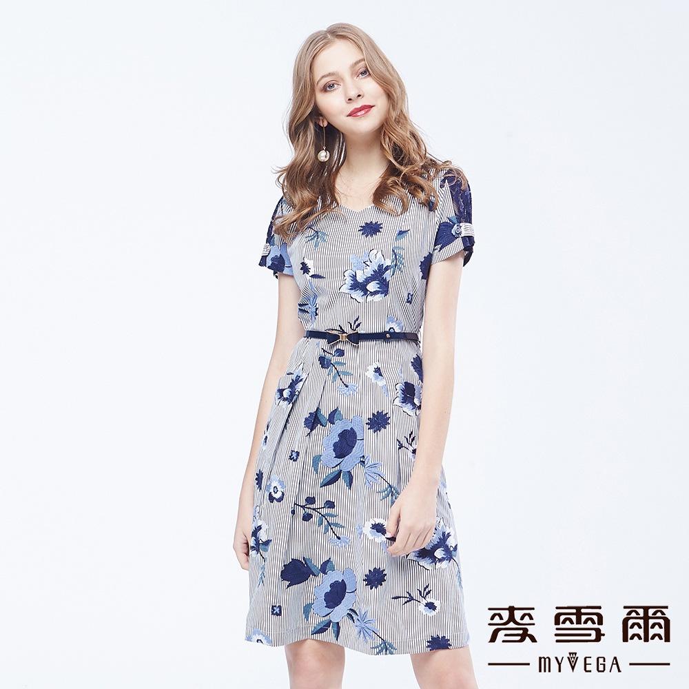【麦雪尔】直条纹V领刺绣蝴蝶结腰带洋装