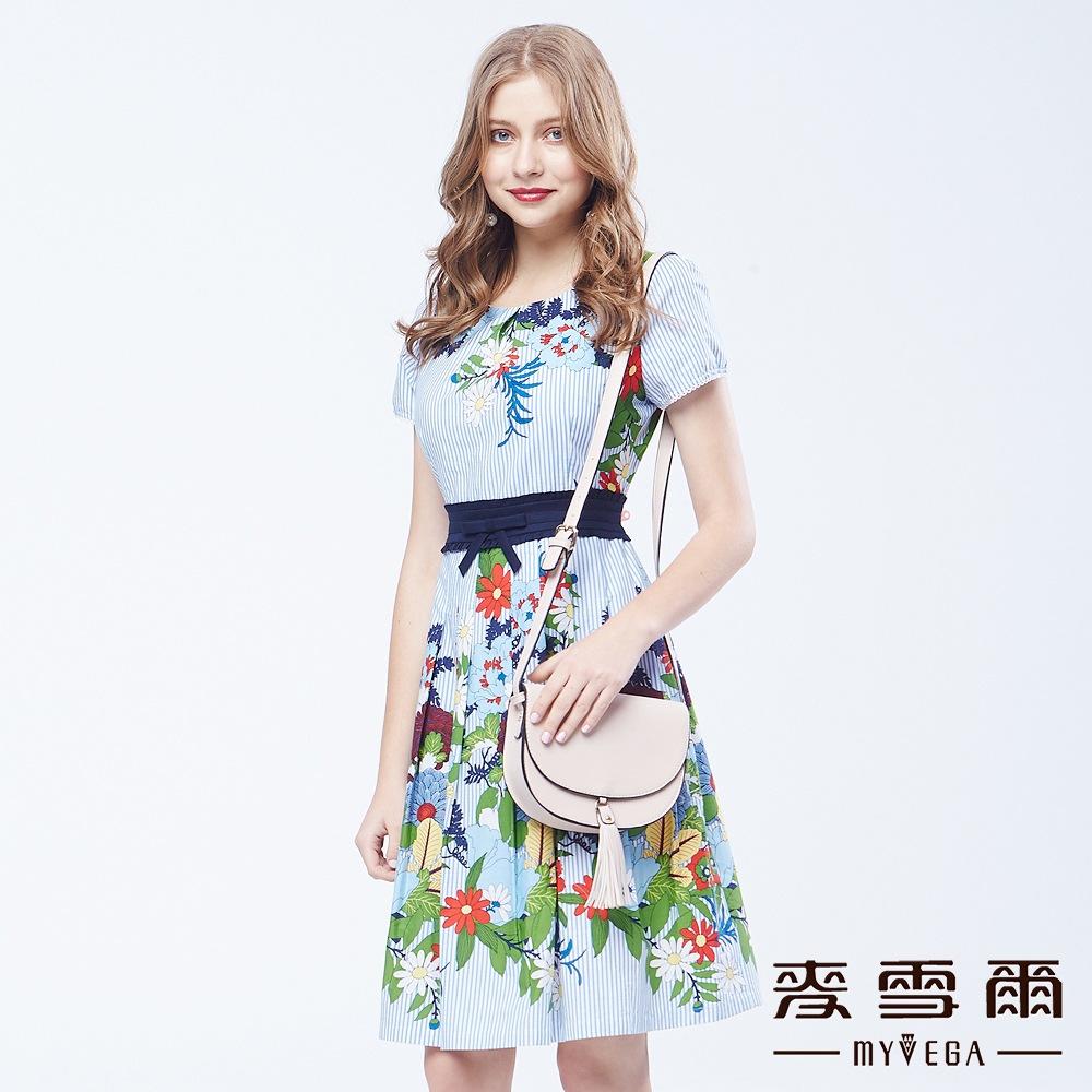 【麦雪尔】纯棉百花齐放秀丽直条洋装