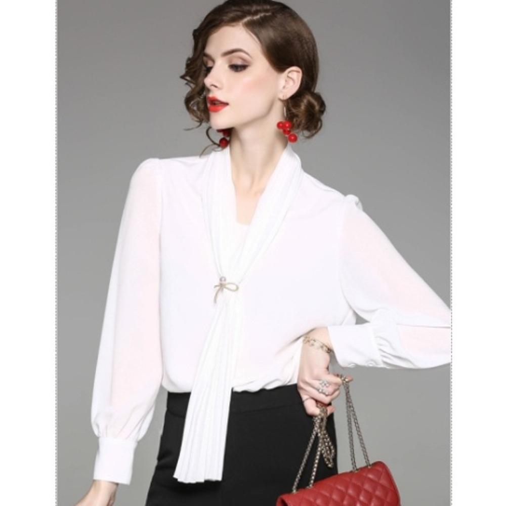 预购【伊凡莎时尚】2P22-8378B法式优雅知性纯色衬衫