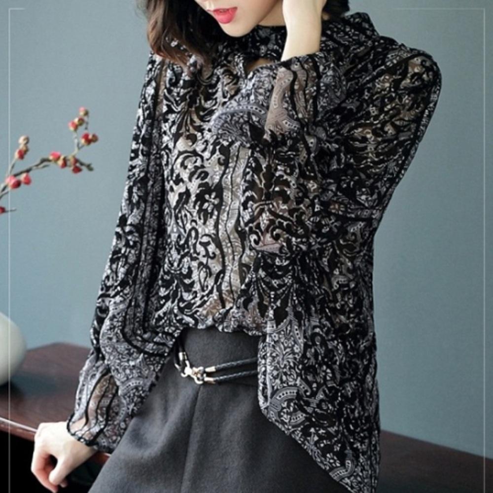 预购【伊凡莎时尚】2P22-8928B英式古典贵族印花植绒衬衫