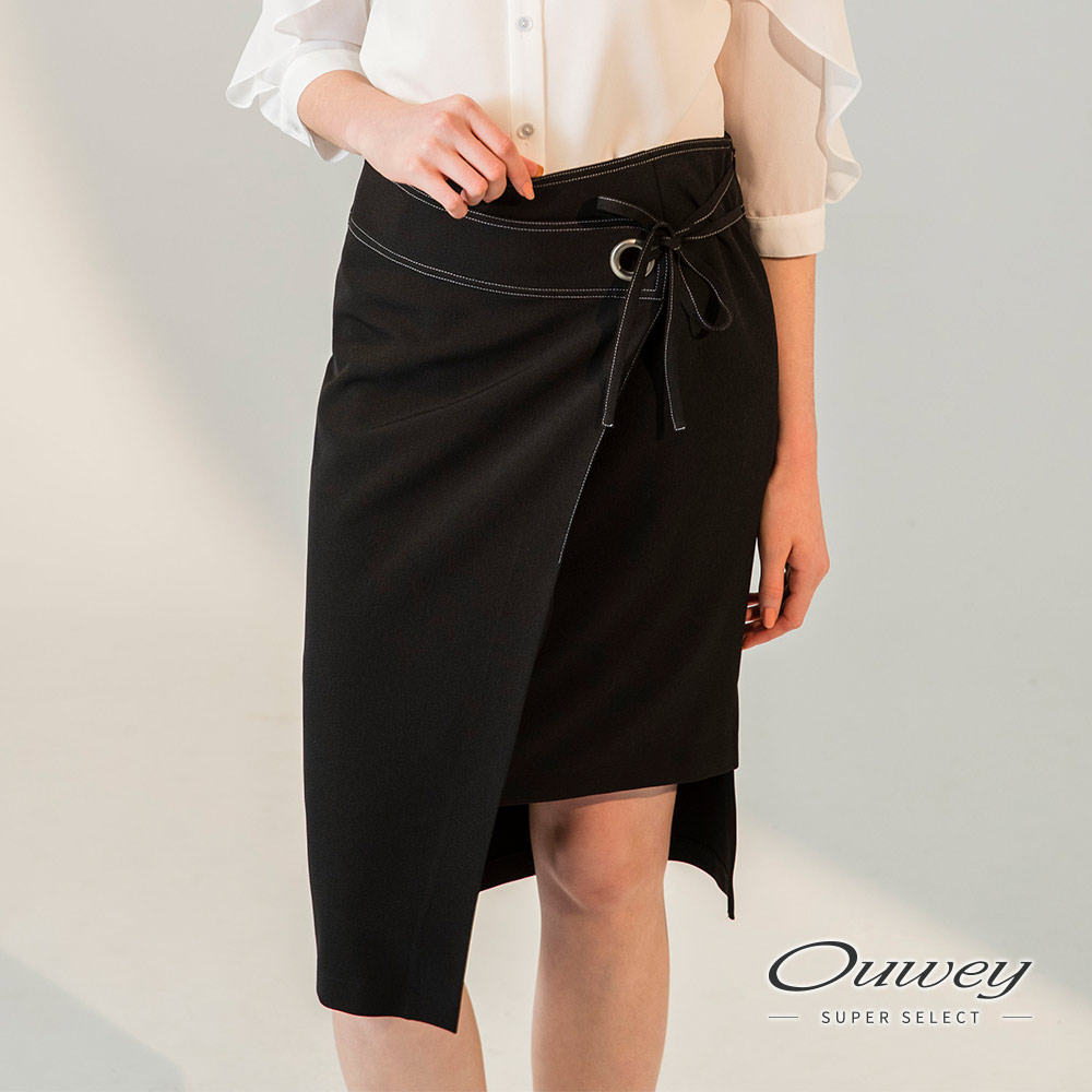 OUWEY欧薇 时尚斜裁系绳窄裙(黑)H01241