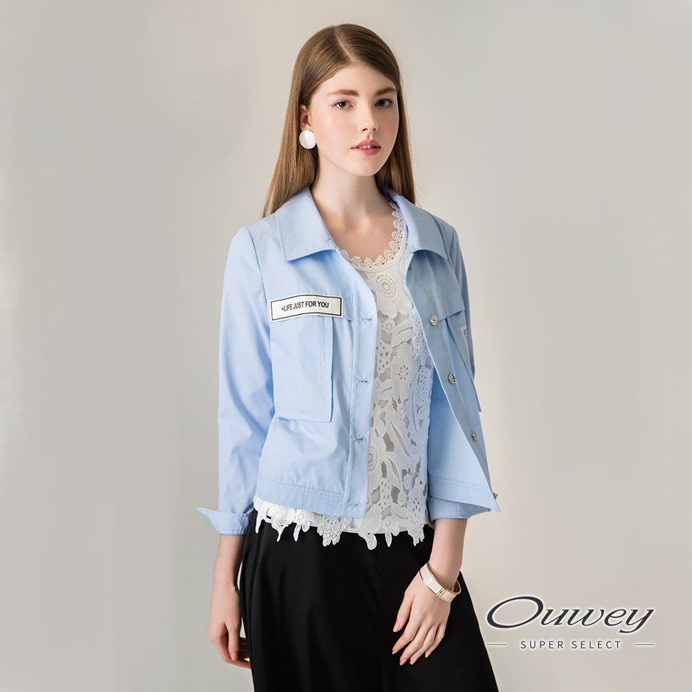 OUWEY欧薇 时尚标语短版外套(蓝)H01449