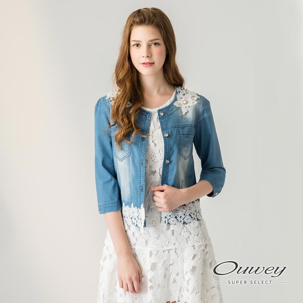 OUWEY欧薇 珠饰蕾丝刷白牛仔短版外套(蓝)H32421