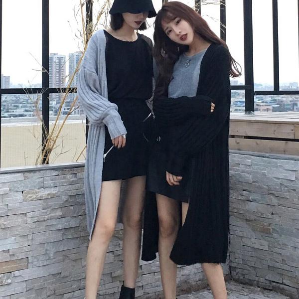 韩版压褶竖条灯笼长袖纹针织外套 vina shop 【预】 JK2183