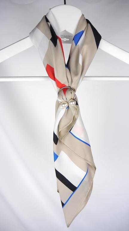 气质出场/拼色区块/质感珍珠扣环/米色 丝巾