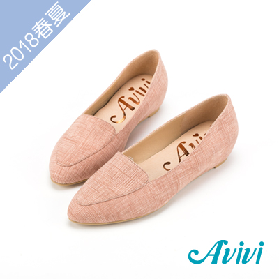 夏日轻著素面压纹内增高尖头鞋-粉