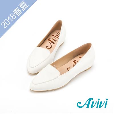 夏日轻著素面压纹内增高尖头鞋-白