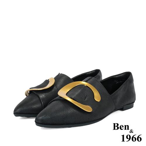 BEN&1966高级头层金属牛皮尖头休闲鞋-黑
