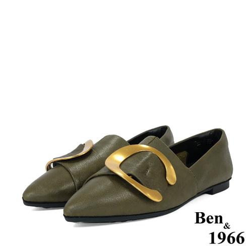 BEN&1966高级头层金属牛皮尖头休闲鞋-橄榄绿