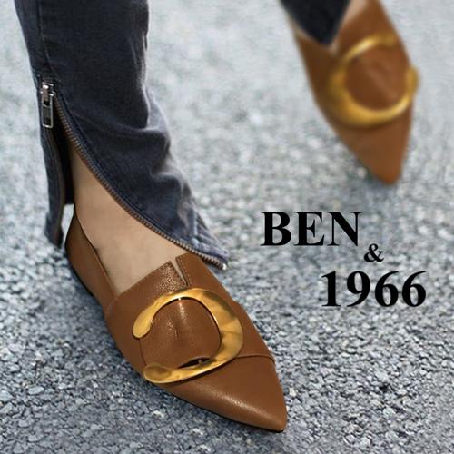 BEN&1966高级头层金属牛皮尖头休闲鞋-棕