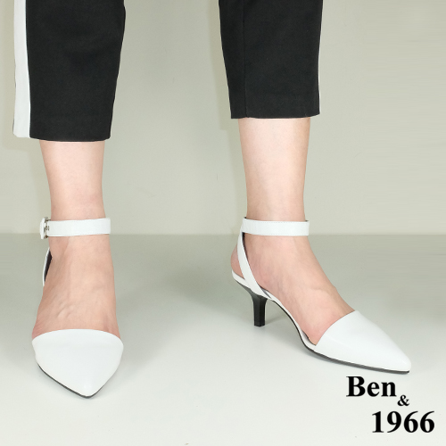 BEN&1966高级头层羊皮经典尖头低跟凉鞋-白