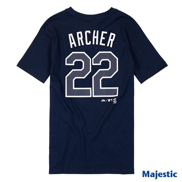 Majestic-坦帕湾光芒队Chris Archer背号22号短T-深蓝