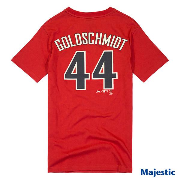 Majestic-亚利桑那响尾蛇队Paul Goldschmidt背号44号短T-红