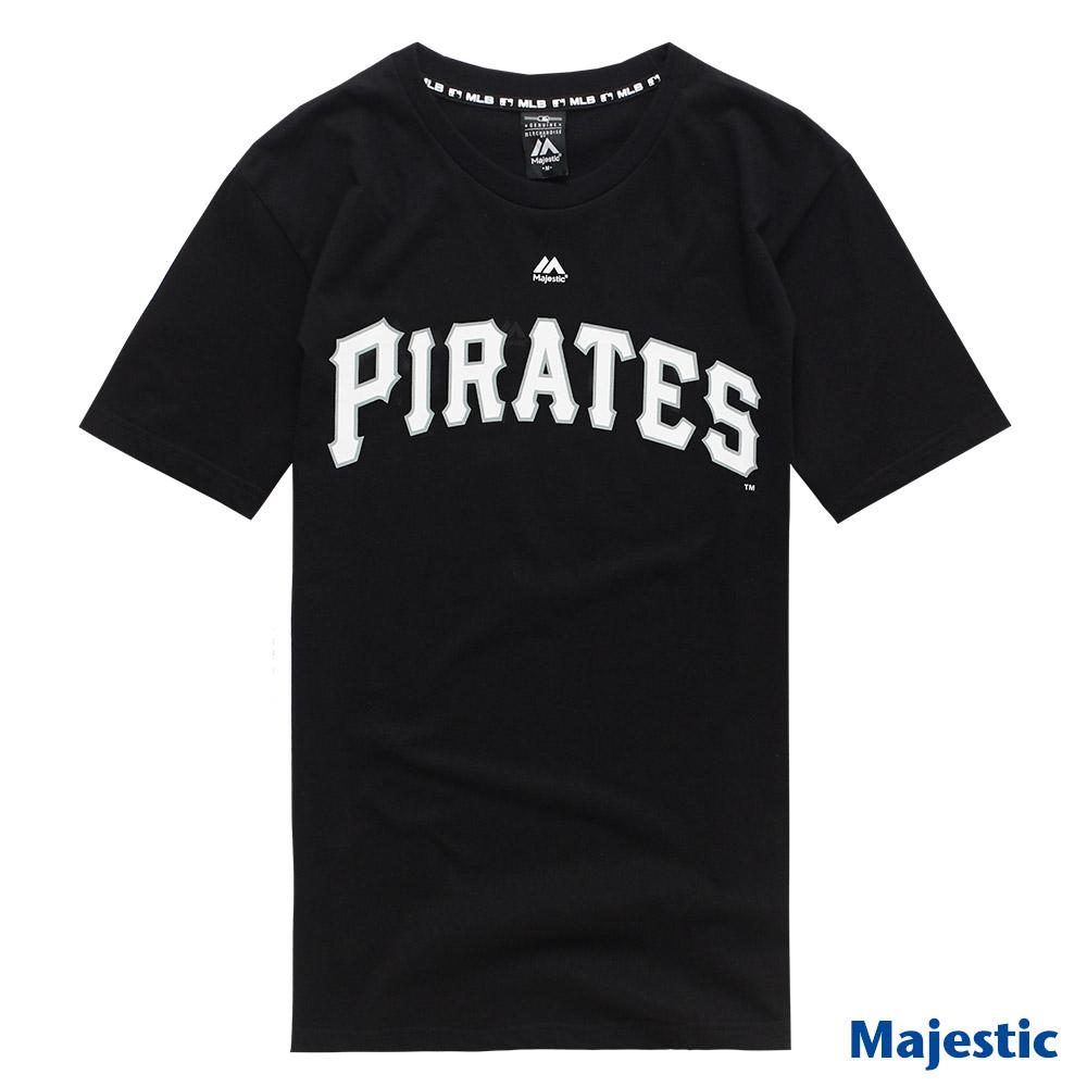 Majestic-匹兹堡海盗队黑色版LOGO印花T恤-黑