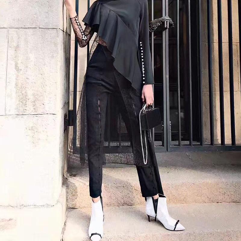 Lamitie 2017秋冬新品百搭时尚简约直排多钮扣高腰长裤 黑色