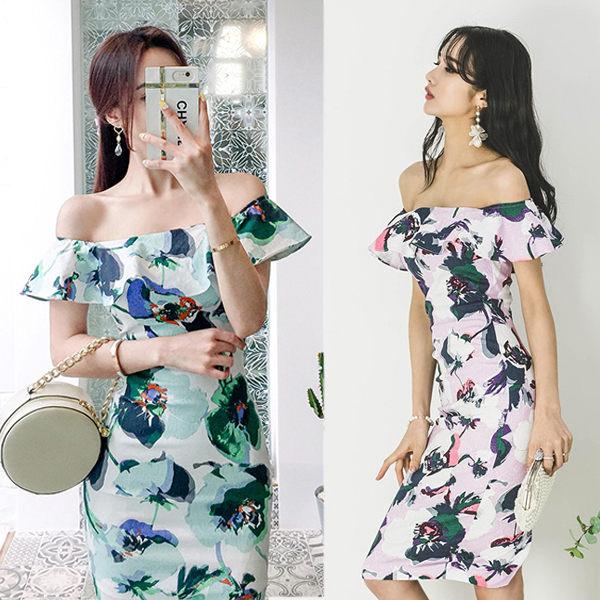 PS Mall 韩版一字领荷叶边修身印花连身裙 洋装【WT212】