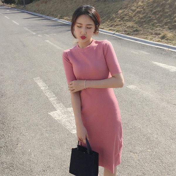 PS Mall 现货圆领短袖纯色连身裙螺纹长裙 洋装【WT217】
