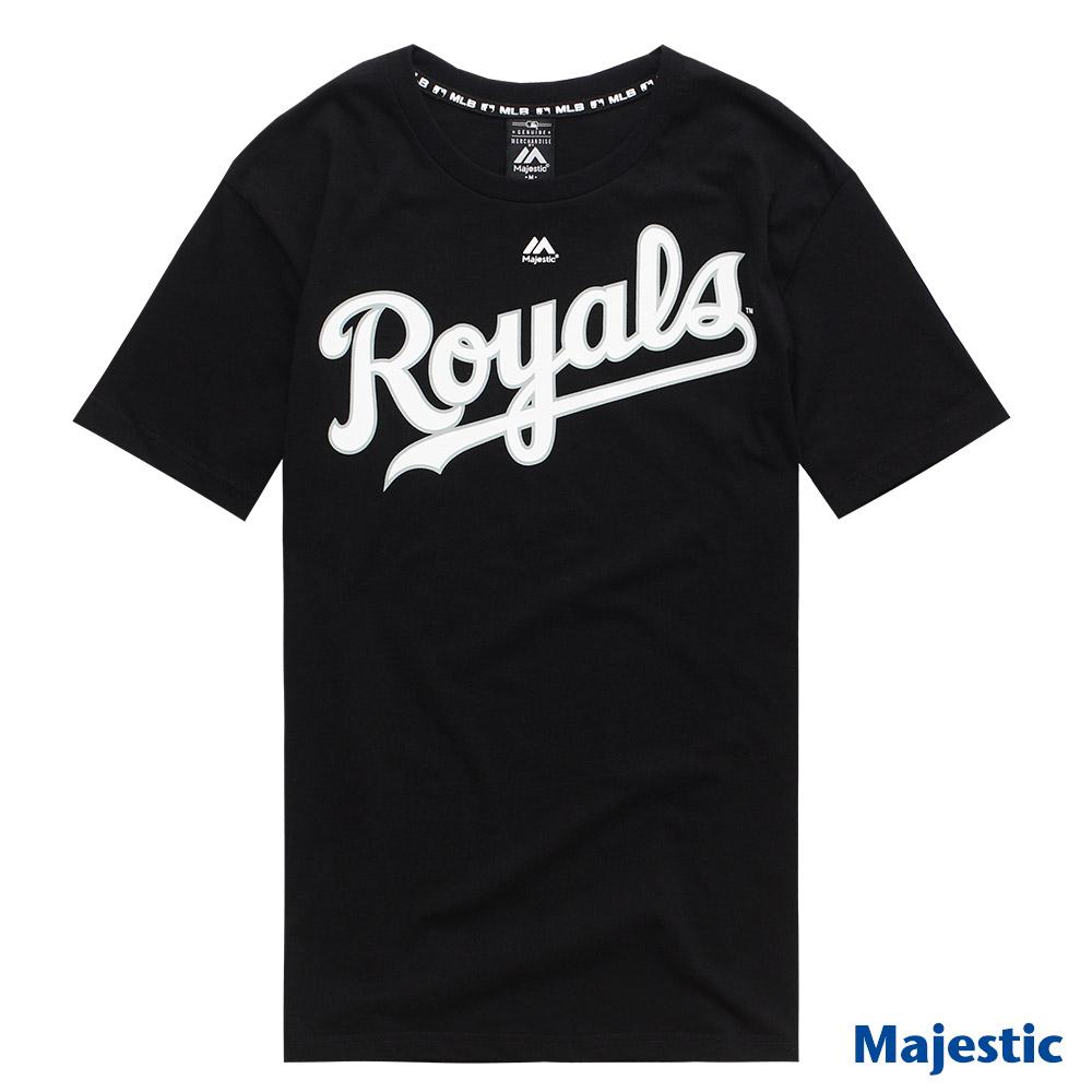 Majestic-堪萨斯皇家队黑色版LOGO印花T恤-黑