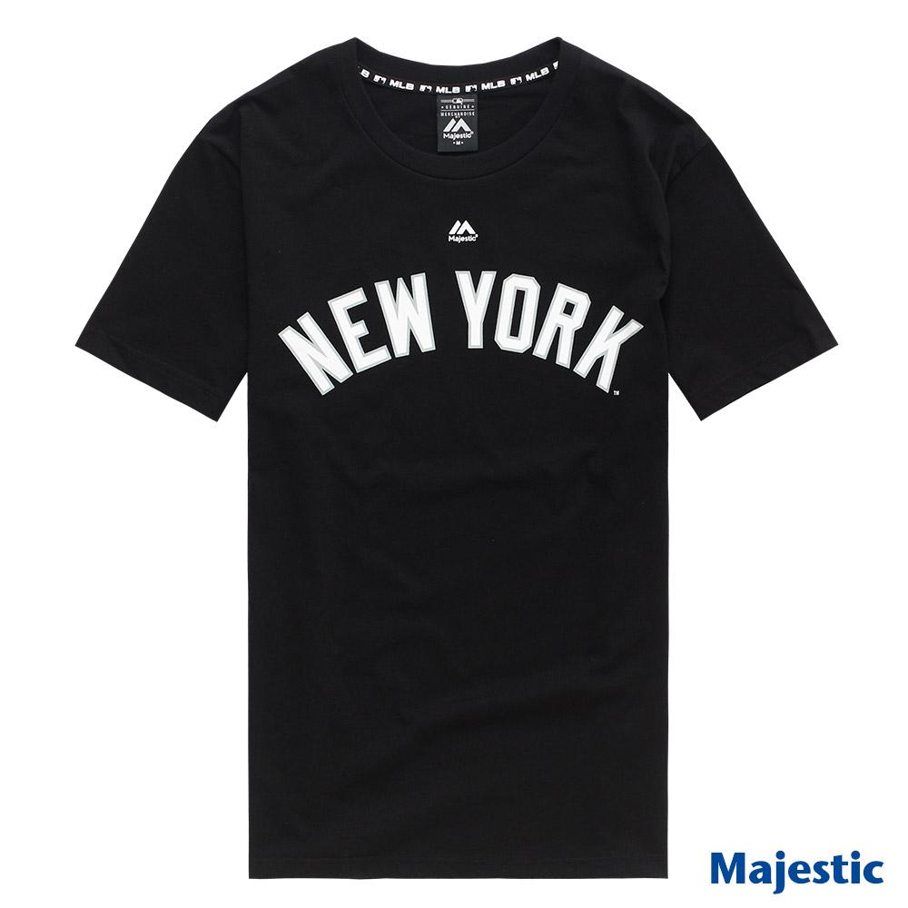 Majestic-纽约洋基队黑色版LOGO印花T恤-黑