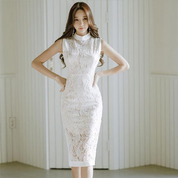 PS Mall 韩版气质中长款修身蕾丝透视连身裙 洋装【WT216】