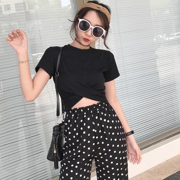春夏新款短袖上衣高腰圆点宽裤两件式套装vina shop 【预】2PC04058