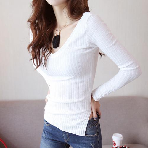 韩国简约素色长袖打底衫(白色)