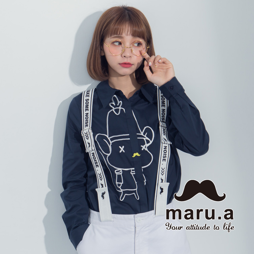 【maru.a】老鼠提姆胡子釦衬衫(蓝色)8313116