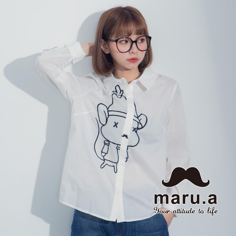【maru.a】老鼠提姆胡子釦衬衫(白色)8313116