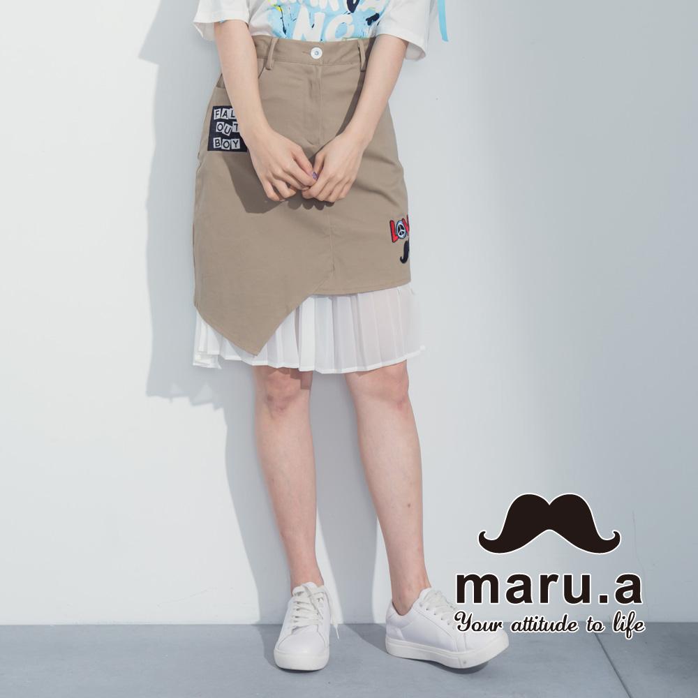【maru.a】绣花贴布特色拼及膝裙(卡其)8316212
