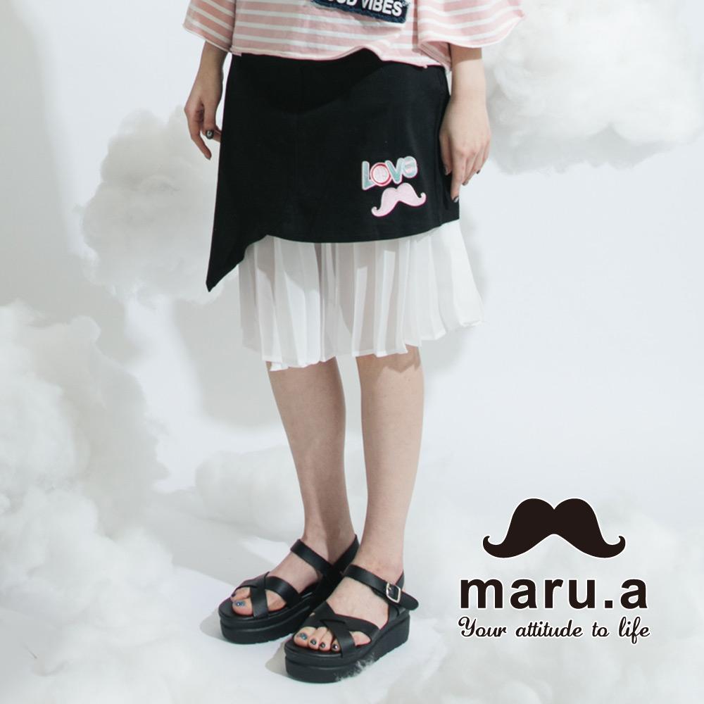 【maru.a】绣花贴布特色拼及膝裙(黑色)8316212