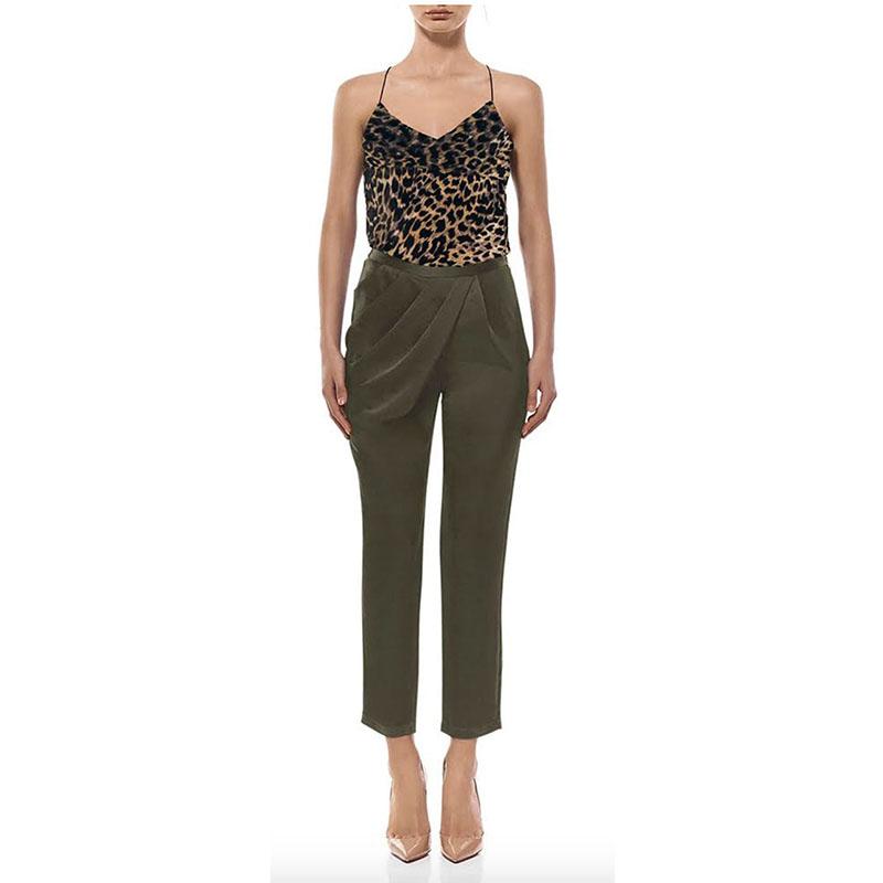 Misha Collection 2018春季欧美新品上市高腰褶皱长裤 黑绿两色