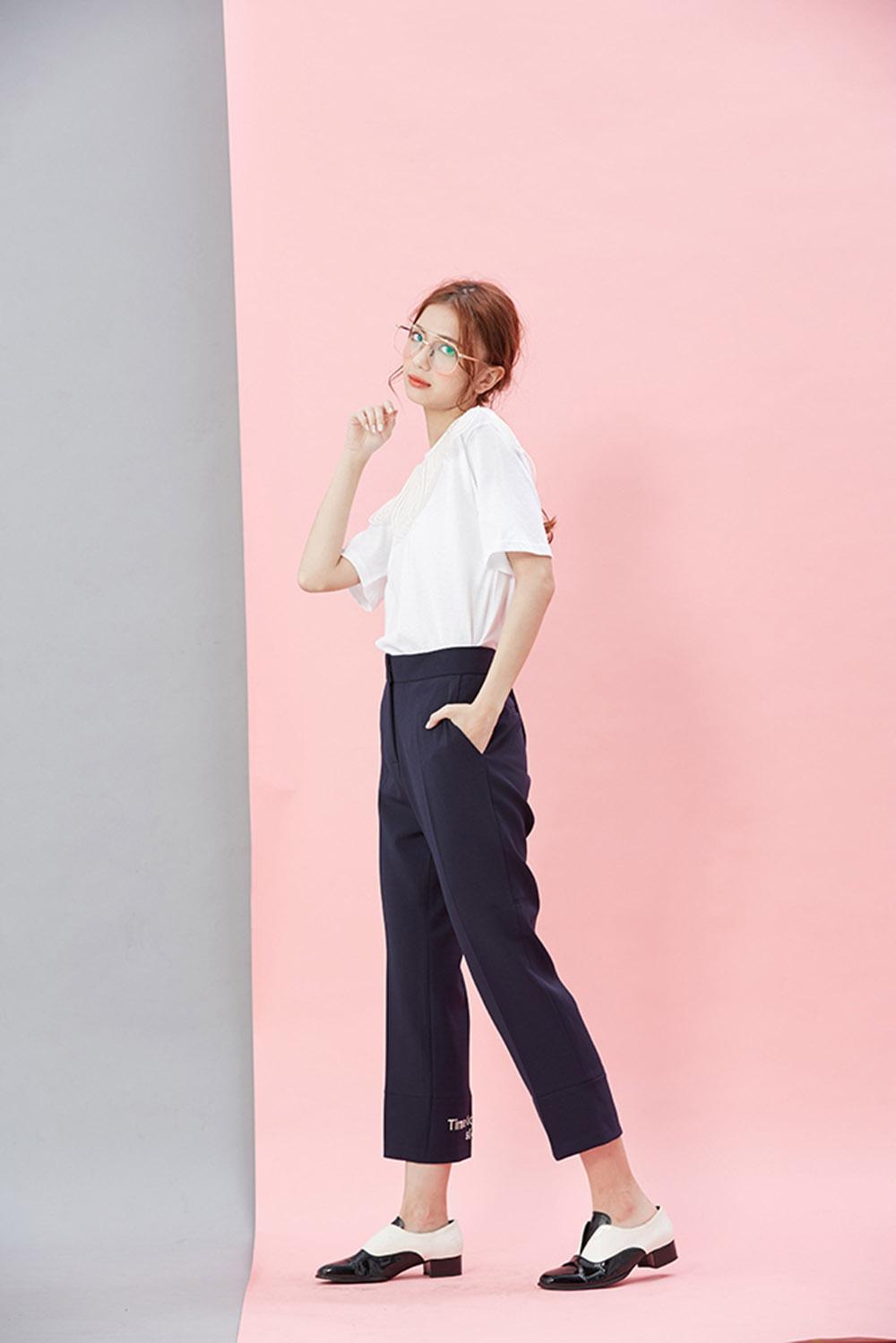 8SP008 窄版裤口绣花9分裤