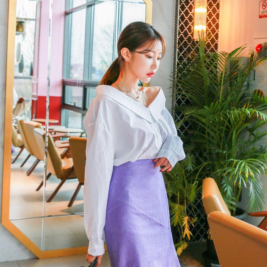 DABAGIRL 露肩落肩素色上衣 (韩国女装) 【DB52148】