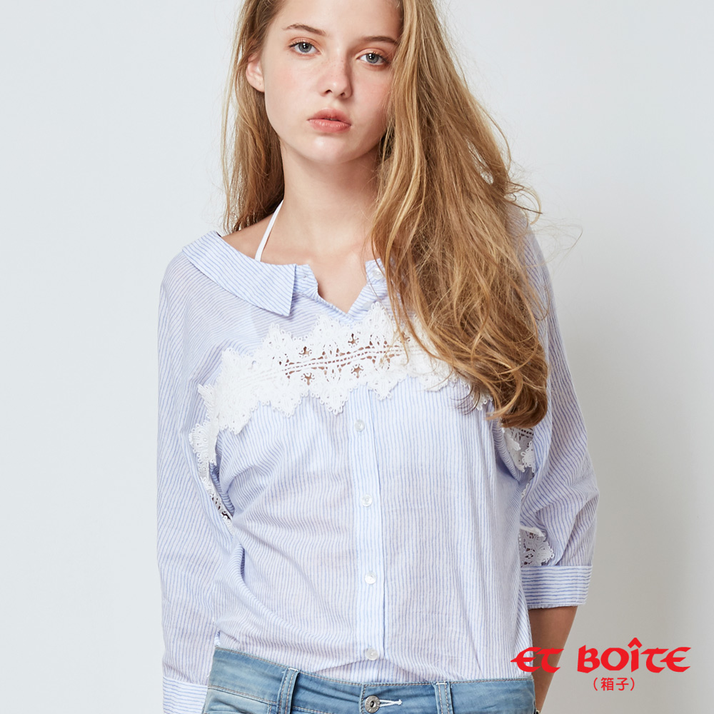 【新品↘8折】前后两穿条纹蕾丝七分袖衬衫(蓝) - BLUE WAY  ET BOiTE 箱子