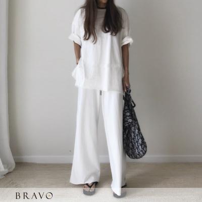【现货】Bravo-韩国同步 纯色简约慵懒百搭两件式套装 2色-BR8040037RIL