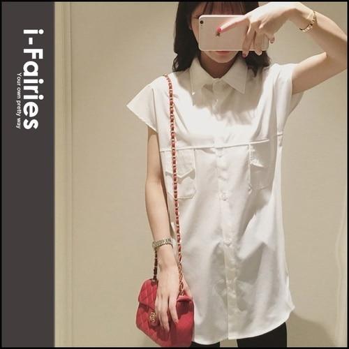 无袖雪纺白色长版衬衫 上衣★ifairies【67030】