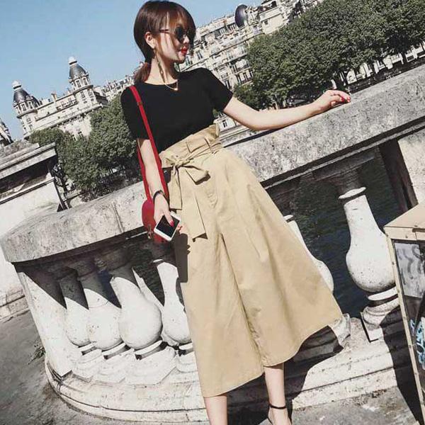 韩版小香风高腰显瘦阔腿裤+短版针织上衣二件式套装vina shop 【预】2PC0422