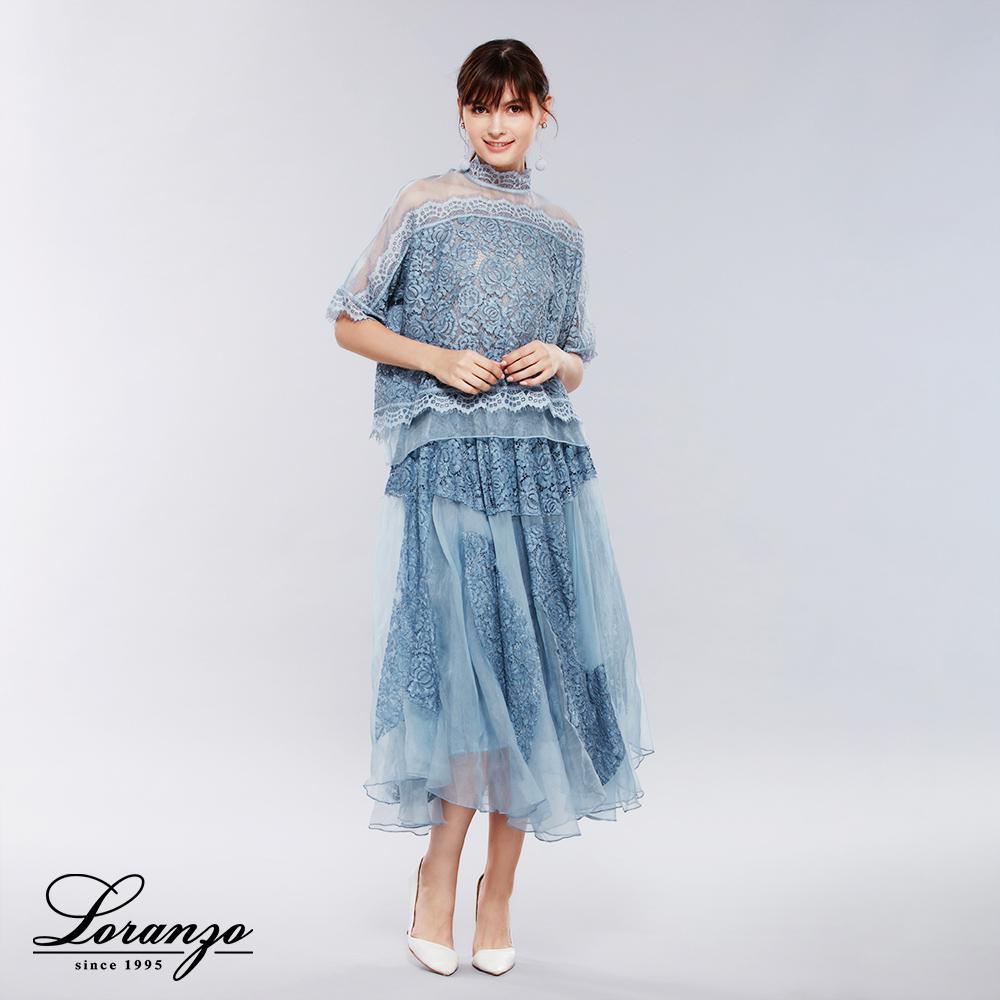[ LORANZO ]2018春夏新品 优雅蕾丝雕花上衣x裙子两件式套装 TSKD100 (仅在门市销售)