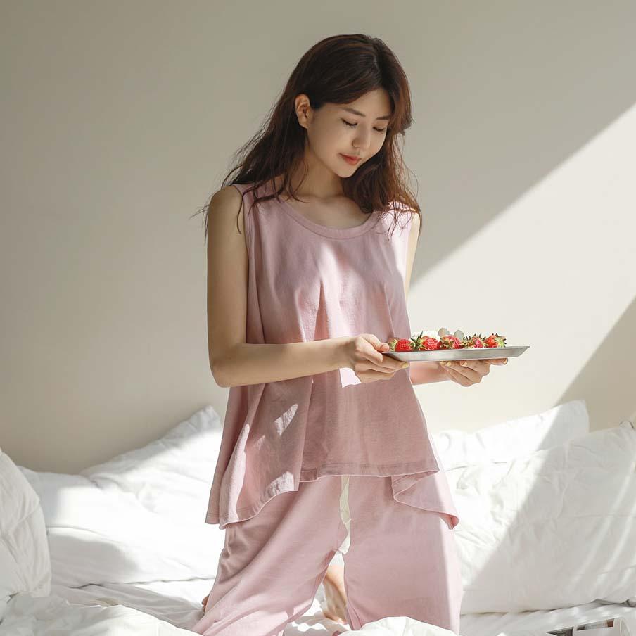 CHICHERA 素色背心+长裤套装 (韩国女装) 【CA376646】