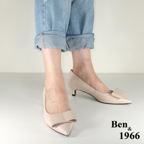 BEN&1966高级头层羊皮经点低跟尖头跟鞋-裸